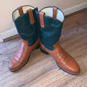 Vintage Wrangler Cowboy Boots Evergreen & Tan SZ 9